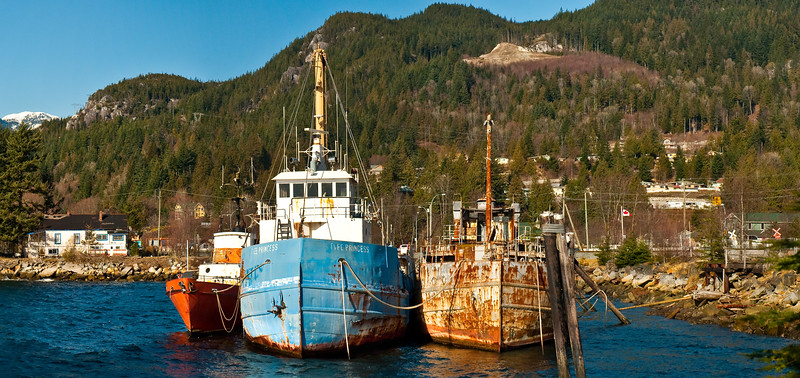 We stopped at this cute mining town on the drive to Vancouver, and then there were these awesome rusty boats moored to the dock. I hopped a fence to get a beter picture of these.