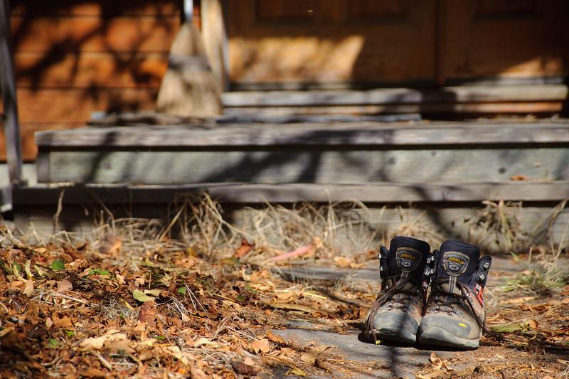 Worn boots after a long trip