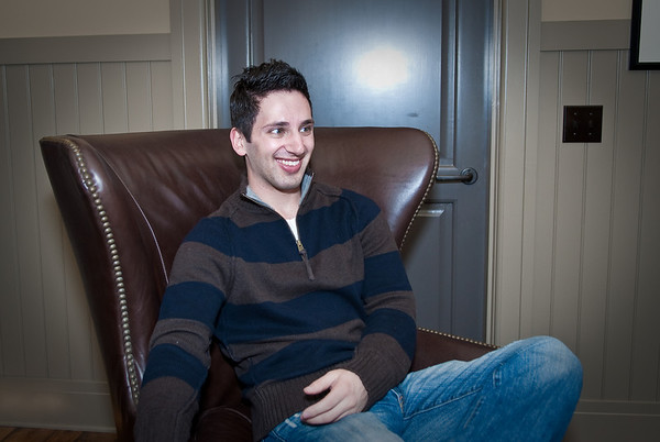 Aaron enjoying the super soft leather chair. I think this is my new facebook picture!
