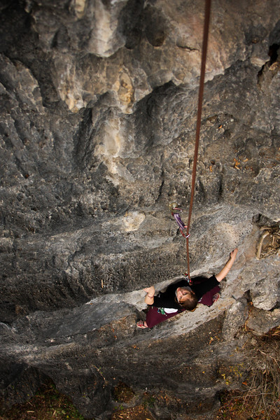 Tracy works her way up an unknown 5.9 climb at the Butterfly Spring wall.