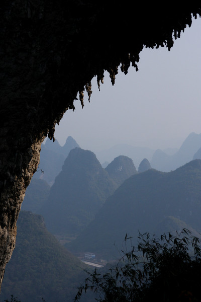 Stalactites reach for the ground over an awe-inspiring scenic view at Moon Hill.
