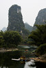 Colorful boats decorate a small tributary to the Li River near Yangshuo.