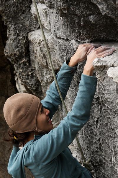 Dust and chalk fly as a nice ledge provides a momentary respite on <i>Slack 5.10b</i>.
