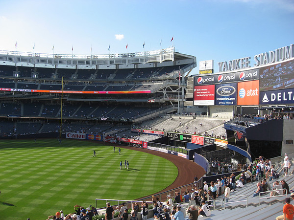 More views of Yankee Stadium, outfield and scoreboard