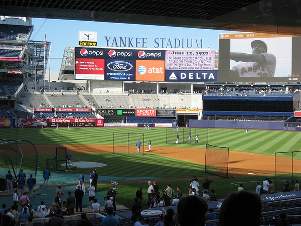 Yankee stadium outfield from behind home plate