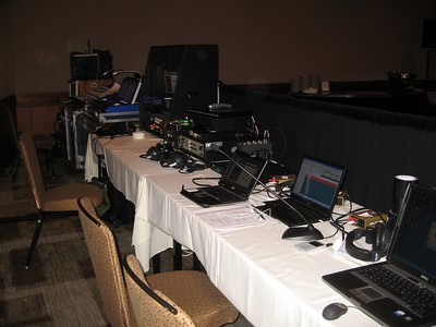 The audiovisual setup in the general session room