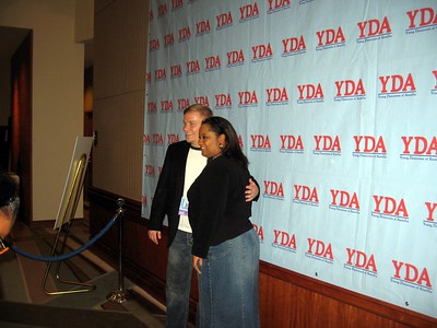 Outgoing president David Hardt poses with fans on the YDA red carpet