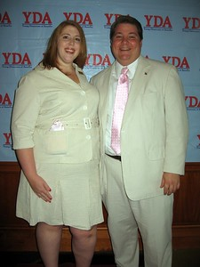 YDA Operations Director Christie Ann Bieber and Executive Director Gary Moody model seersucker on the red carpet