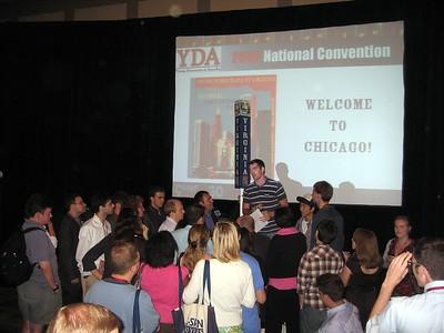 Virginia Young Democrats President Sean Holihan addresses the Virginia delegation