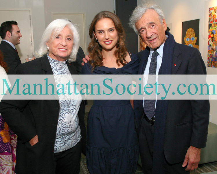 NEW YORK-APRIL 16: Marion Wiesel, Natalie Portman, Elie Wiesel   attend an evening hosted by the Young Friends of the Elie Wiesel Foundation for Humanity to honor actress Honor Natalie Portman at 92Y Tribeca, 200 Hudson Street, New York City, NY on Thursday, April 16, 2009 (Photo Credit: ©Karen Zieff/ManhattanSociety.com)