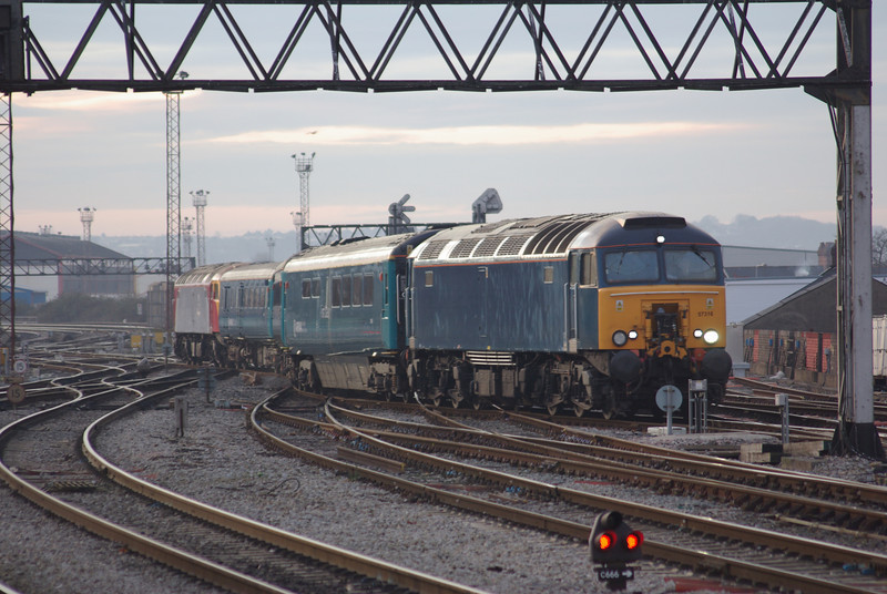 57316 (with 57313 at the rear) bring the coaching stock off Canton Depot to work the 16:17 Cardiff Central - Holyhead 07/01/09