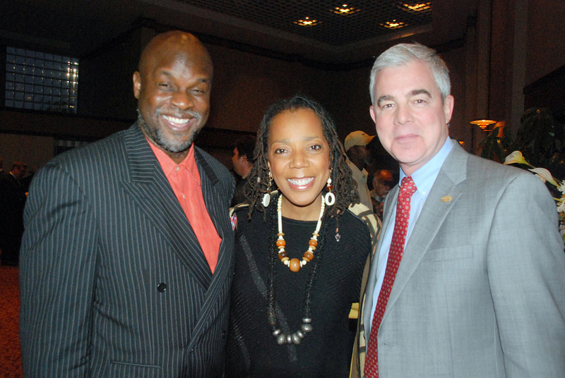 History Detective Tukufu Zuberi, Ritz Theatre Executive Director Carol Alexander, WJCT President & CEO Michael Boylan