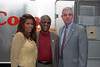 Jacksonville civil rights pioneer Alton Yates (center), with his daughter, Toni Yates, and WJCT President and CEO Michael Boylan.