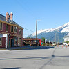 Skagway looking toward piers - cruise boats, railroads, and a visitor center!