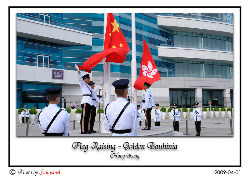 A Flag Raising Ceremony at the Golden Bauhinia in Wan Chai, Hong Kong.