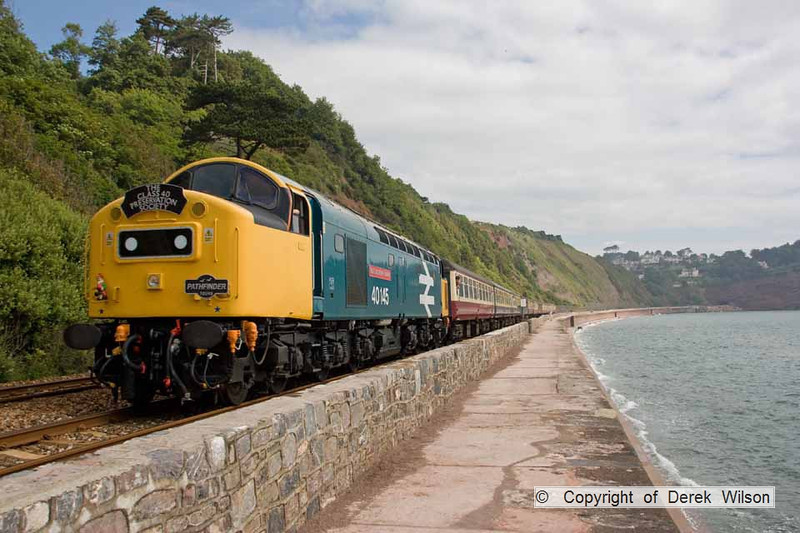 090627-019     English Electric type 4 Co-Co, Class 40 no. 40145 East Lancashire Railway, seen passing along the scenic sea wall at Teignmouth, powering Pathfinder Raitours, 'The Cornish Explorer', train 1Z37 Portsmouth Harbour - Penzance.