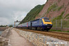 090627-010     FGW class 43s, 43122 & 43194 power the 06.48 London Paddington - Penzance. Seen passing along the sea wall at Teignmouyh.