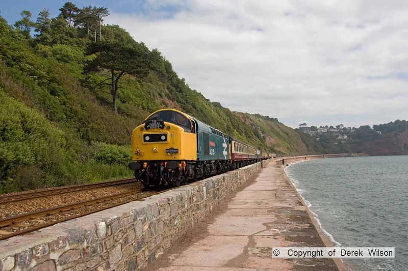 090627-018     English Electric type 4 Co-Co, Class 40 no. 40145 East Lancashire Railway, seen passing along the scenic sea wall at Teignmouth, powering Pathfinder Raitours, 'The Cornish Explorer', train 1Z37 Portsmouth Harbour - Penzance.