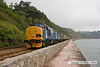 090627-009     DRS class 37s, 37194 & 37087 thundering along the sea wall at Teignmouth, powering Spifire Raitour's, 'The Kernow Growler', train 1Z70 Birmingham International - Penzance.