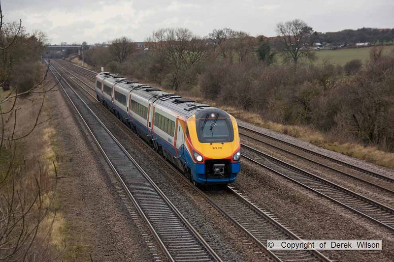 090123-008     The 11.18 Derby - London St Pancras, formed by East Midlands Trains 'meridian' unit, class 222 no. 222022 is seen passing through Cossington.