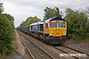090821-002     GBRf class 66 no 66718 Gwyneth Dunwoody, seen at Thurgaton, powering train 4M82 Doncaster-Hotchley Hill, loaded gypsum containers. The train originated at Drax power station & worked, as far as Doncaster, as train 4D55.