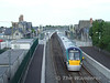 22036 eases over the crossover at Portarlington with the 1745 Heuston - Westport. Thurs 04.06.09
