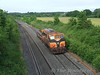 177 at Deerpark Bridge, Portarlington with a single wagon carrying wheels from Limerick works to Inchicore works. Fri 05.06.09