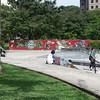 skateboard park near Orchard Road with just a few Sunday skateboaders, many more would join or replace then at night later