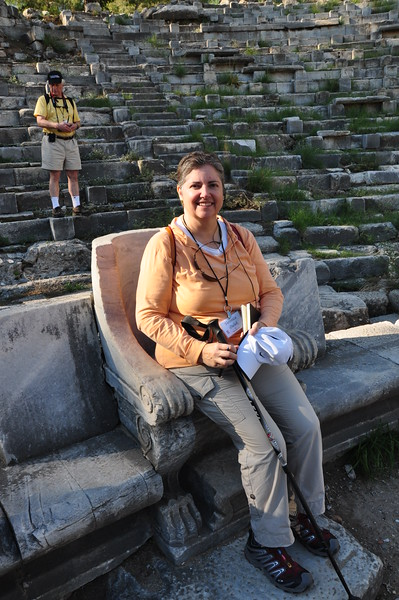 2010-10-31  717  Priene - Veronica Seated in a 'Seat of Honor', at the Hellenistic Greek Theater