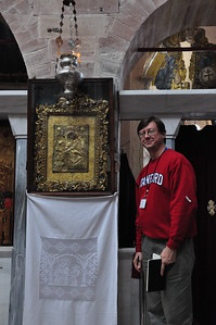 2010-10-29  126  Chios - Jay with an Icon of Mary, in the Church at the Monestary