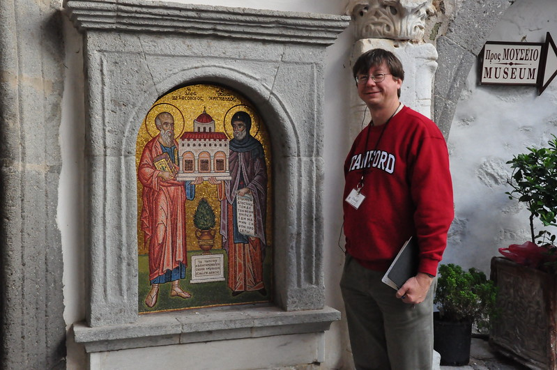 2010-10-30  039  Patmos - Jay and a Mosaic, at the Monestary of St. John