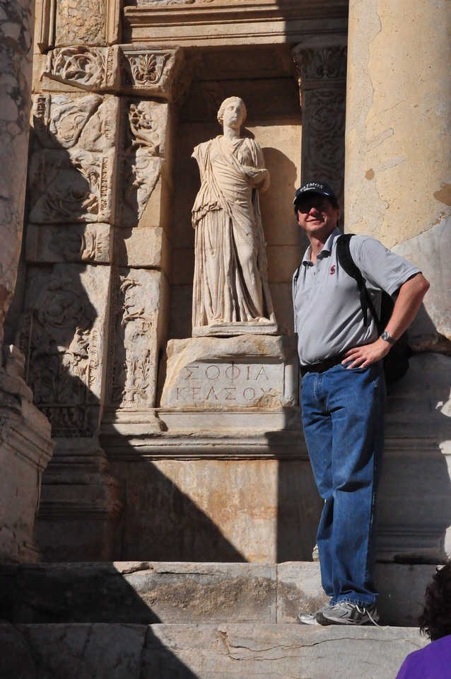 2010-10-31  569  Ephesus - Jay and the Statue of Sophia, at the Library of Celsus