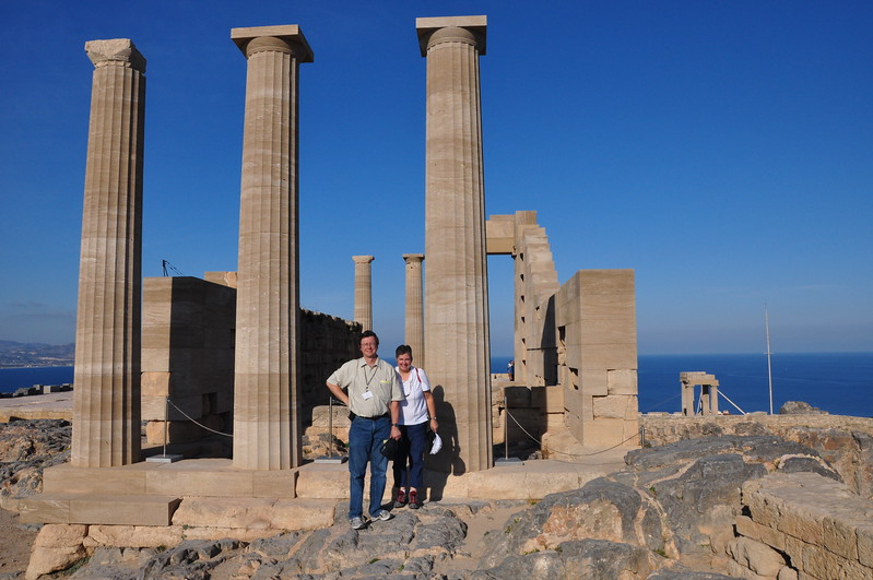 2010-11-02  408  Jay and Veronica, at the Temple of Athena, on the Acropolis of Lindos