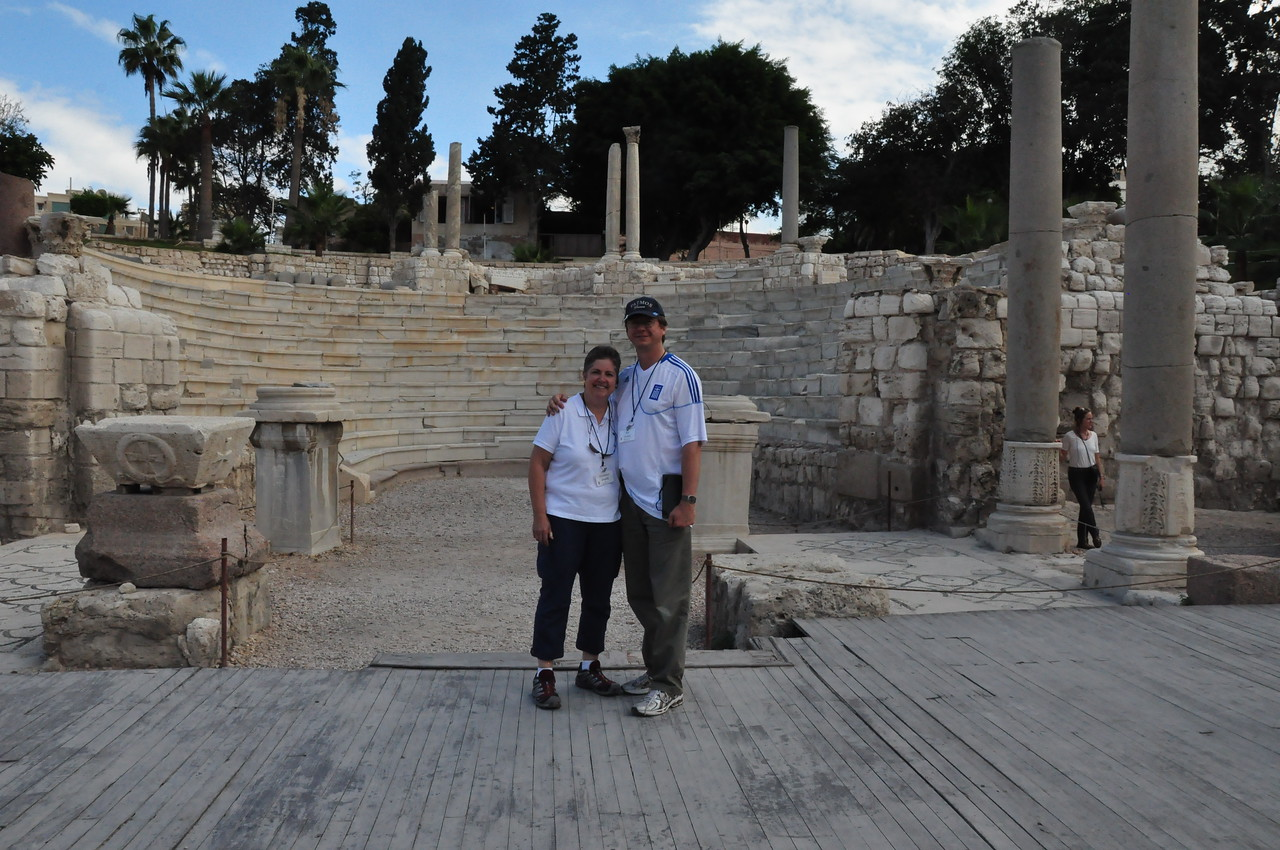 2010-11-07  053  Alexandria - Veronica and Jay, at the Ancient Roman Amphitheater