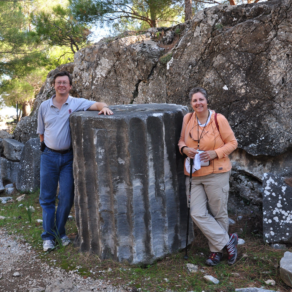2010-10-31  808  Priene - Jay and Veronica, with a Column Section from the Temple of Athena