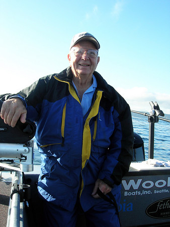 Ed, Sr. is happy on the water.  U.S. Navy veteran, 1944-46.