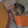 Kisses for Daddy.  Note the Halloween outfit.