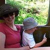 With Mommy on the zoo train.