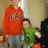 Liam & Nate with amazing tool work bench Liam gave Nate for his 2nd birthday