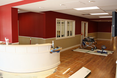 Looking left from the main entrance to the Lower School Wing - receptionist's desk.