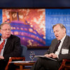 January 14, 2011 | The Shape of Things to Come: Deciphering the Dodd-Frank Financial Regulatory Reform Act.<br /> <br /> Left to right: Michael Greenberger, Professor, University of Maryland School of Law (former Director, Division of Trading and Markets, CFTC); Fred Dunbar, SEC, Economic Fellow.<br /> <br /> (photo by Jessica McConnell)