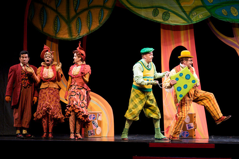 Tony Castellanos, Yolanda London, Katie McFadzen, D. Scott Withers, and Dwayne Hartford in Childsplay's <i>A Year With Frog and Toad</i>. Photo Credit: Heather Hill