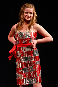 Middle School Runner-Up team design modeled by Hope Redmond. The dress was crafted from Diet & Regular Coke cans and yarn and includes accessories from Lower School teams.  Other members of the team include Sarah Lippman, Taylor Mills, Efe Alonge, and Phoebe Wislar. See the dress and the coordinating boots on display at The TerraCycle Store, Palmer Square.