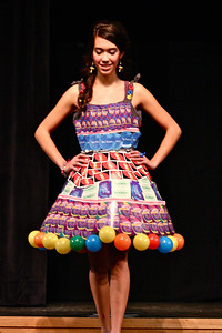 Upper School 1st Place modeled by Elisa Mercando. The dress was crafted from 7 different packs of playing cards, board game pieces and boxes, an old sheet, old buttons, plastic balls from a kids' ball house jungle, yarn, and ribbon.  Her accessories were made by a Lower School team. Elisa's members were Nikki Starke and Sara McArthur. Dress to be displayed at The TerraCycle Store, Palmer Square.