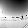 Recreation Time: Tim kite surfs on the ice sheet.