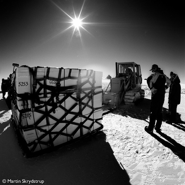 A pallet of ice cores is made ready for take-off.