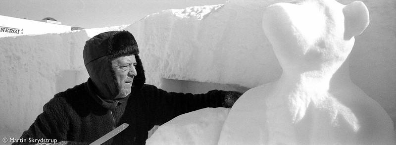 Fernando working as a sculptor on the Polar Ice Bear.