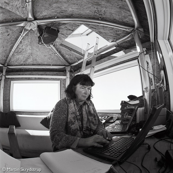 "Dorthe at the ""premier tiers"" of the dome, used as office and ground control for incoming flights."