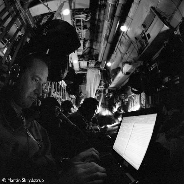 Jerôme writing the French press release in the Hercules.