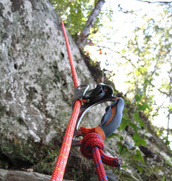 "Sometimes one of the best things do to when rappelling or ascending a rope is to stop, sit still, and enjoy. As I sat relaxing in my harness, admiring Mother Nature's handiwork, I looked up the rope and thought to myself, ""This gear has taken me to some amazing places and has changed my life in a wonderful way!"" I looked at the Petzl ascender that was suspending me from the rope and wondered what my life would be like if someone wasn't clever enough to invent the gear I hang from. Then I realized that I was fortunate to have learned from Bruce at OnRope1 how to safely rig and use the gear. But before Bruce Smith, there was Brent Lewis, the Program Director at the Gerdon Youth Center in Corydon, IN that asked me one day if I wanted to be a chaperone for an outing to a Rope Technician course in Tennessee taught by Bruce. I had never done anything like this before, but during the course I became completely hooked and the path of my life shifted considerably. But even before Brent, there was Matt Kitterman, who I met when I was 15. We became superb friends, and after being apart for several years while I was away majoring in getting nowhere in college, he asked me to join him in running a program for the kids at the Gerdon Youth Center. And of course that's where I met Brent...who led me to Bruce...who taught me about the ropework that changed a whole lot of things in my life!! All of this came to me as I hung on the side of a cliff at Messmore naked. Okay, so maybe I wasn't really naked, but it's interesting to think about where you are in life and how certain people that were placed along your path truly changed everything. I'm a very lucky, thankful man. :)) I'm thankful for a LOT of things, but Matt, Brent, and Bruce are really up there on my list, and this short little trip to Messmore reminded me of the awesome impact they've had on my life."